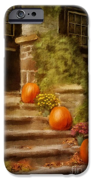 Thanksgiving Digital iPhone Cases - Autumn Welcome iPhone Case by Lois Bryan