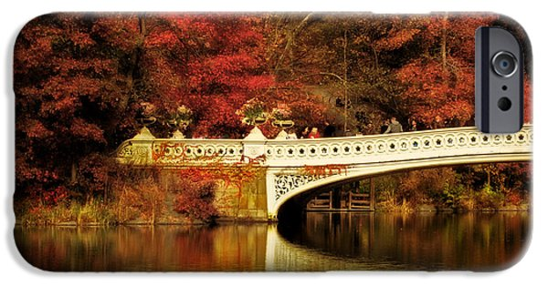 Red Leaf Digital iPhone Cases - Autumnal Bow Bridge  iPhone Case by Jessica Jenney