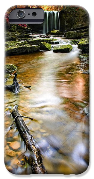 autumnal waterfall iPhone Case by Meirion Matthias