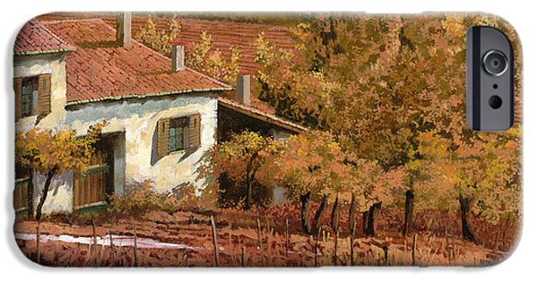 Vineyard Landscape iPhone Cases - Autunno Rosso iPhone Case by Guido Borelli