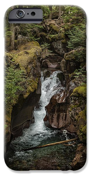 Red Rock iPhone Cases - Avalanche Gorge - Glacier NP iPhone Case by Belinda Greb