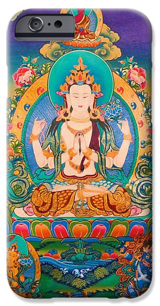 Best Sellers -  - Tibetan Buddhism iPhone Cases - Four-armed Avalokiteshvara iPhone Case by Lanjee Chee