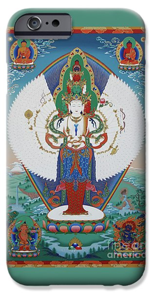Buddhist Paintings iPhone Cases - Avalokiteshvara Lord of Compassion iPhone Case by Sergey Noskov
