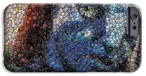 Bottlecaps iPhone Cases - Avatar Neytiri Bottle Cap Mosaic iPhone Case by Paul Van Scott