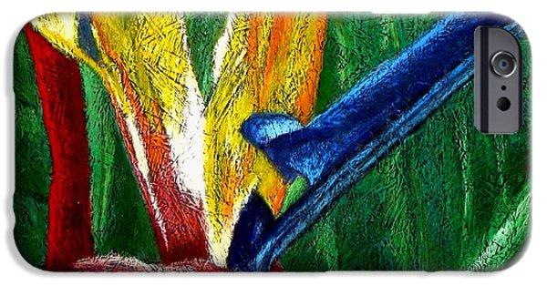 Botanical Pastels iPhone Cases - Ave de Paraiso iPhone Case by Karla Kernz
