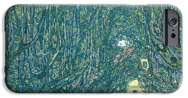 Green Path iPhone Cases - Avenue in the Park of Schloss Kammer iPhone Case by Gustav Klimt