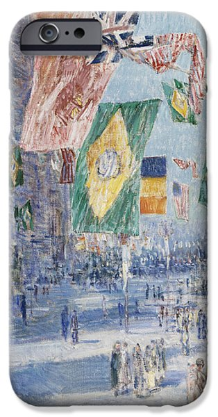 Childe iPhone Cases - Avenue of the Allies  Brazil  Belgium iPhone Case by Childe Hassam
