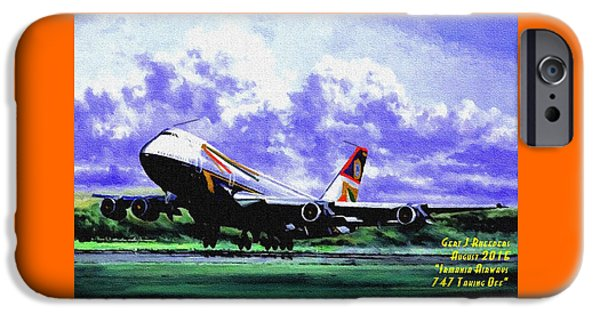 Gear Pastels iPhone Cases - Aviation Art Catus 1 no. 23 - Irmania Airways 747 Taking Off H A iPhone Case by Gert J Rheeders