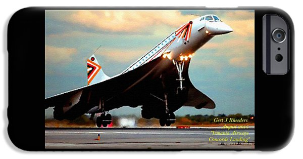 Gear Pastels iPhone Cases - Aviation Art Catus 1 no. 24 - Irmania Airways Concorde Landing H A iPhone Case by Gert J Rheeders