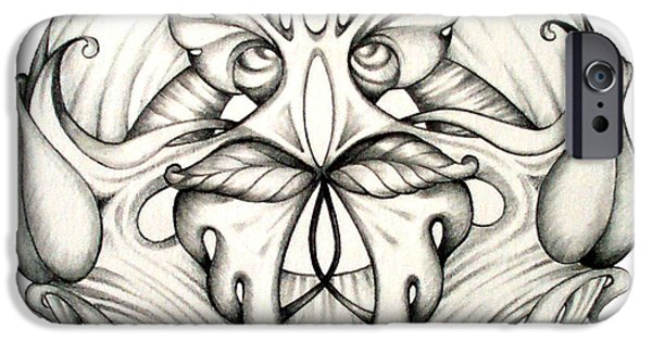 Flowers Drawings iPhone Cases - Awakening iPhone Case by Shadia Zayed