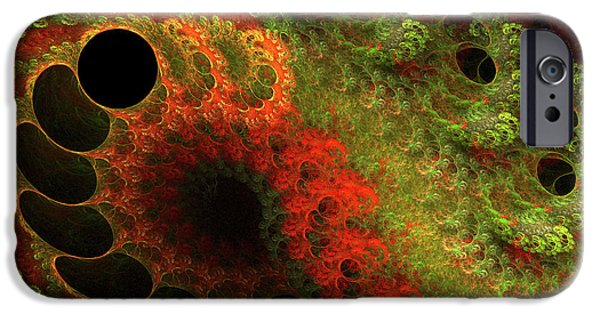 Fractal Mixed Media iPhone Cases - Awed iPhone Case by Bonnie Bruno