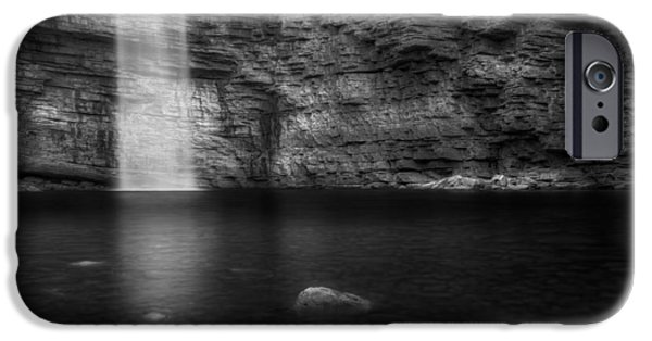 Minimalism iPhone Cases - Awosting Falls Black and White iPhone Case by Bill Wakeley