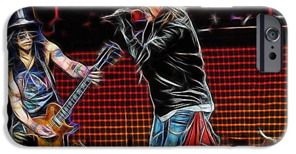 Axl Rose iPhone Cases - Axl Rose and Slash Guns N Roses iPhone Case by Marvin Blaine
