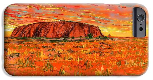 Red Rock Drawings iPhone Cases - Ayers Rock iPhone Case by Eranda Kumarapperuma