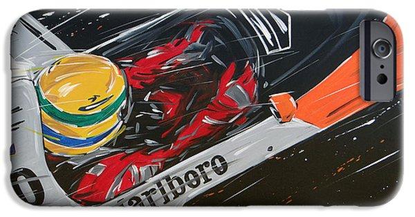 Automotive iPhone Cases - Ayrton Senna Mac Laren iPhone Case by Roberto Muccilo
