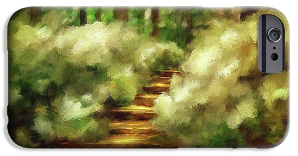 Sunlight On Flowers iPhone Cases - Azalea Stairs iPhone Case by Lois Bryan