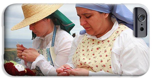 Women Together iPhone Cases - Azorean craftswomen iPhone Case by Gaspar Avila