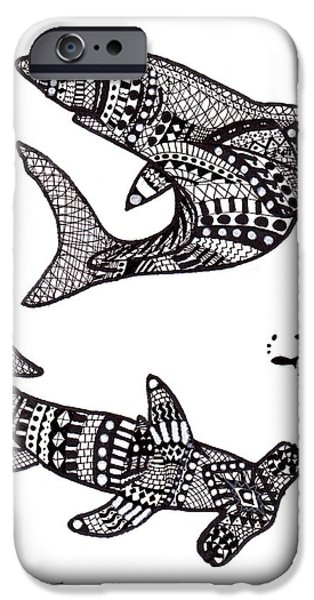 Shark Drawings iPhone Cases - Aztec Sharks iPhone Case by Loren Hill