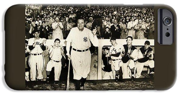 Joe Dimaggio Baseball Statistics iPhone Cases - Babe Ruth at Yankee Stadium iPhone Case by Michael Braham