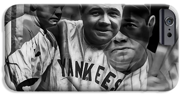 Baseball iPhone Cases - Babe Ruth Collection iPhone Case by Marvin Blaine