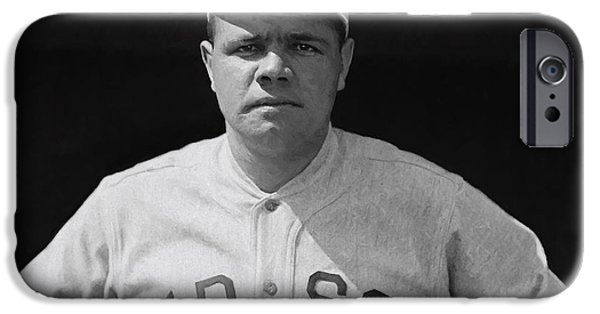 Red Sox Mixed Media iPhone Cases - BABE RUTH PAINTERLY c. 1915 iPhone Case by Daniel Hagerman