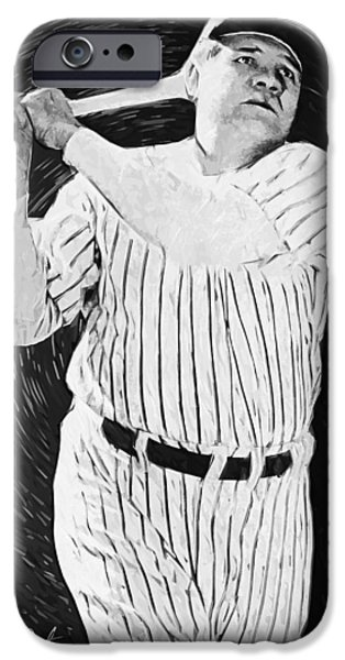 Boston Red Sox Digital Art iPhone Cases - Babe Ruth iPhone Case by Taylan Soyturk