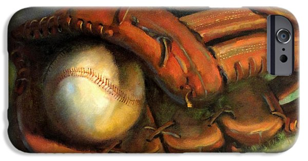 Baseball Glove Paintings iPhone Cases - Babe Ruth Tribute Baseball Yankees Buy Babe Ruth iPhone Case by Hall Groat II