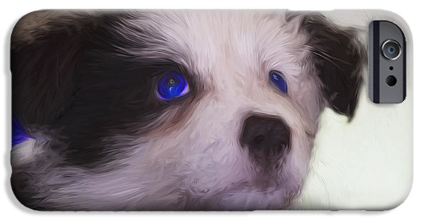 Puppy Digital iPhone Cases - Baby blue eyes iPhone Case by Sheila Smart