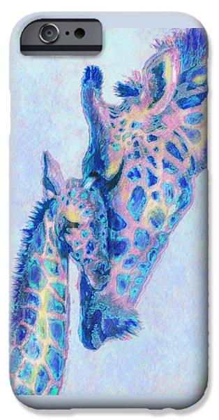Giraffe Digital iPhone Cases - Baby Blue  Giraffes iPhone Case by Jane Schnetlage