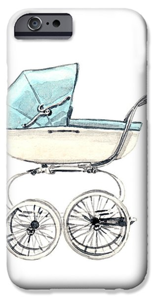 Duchess Of Cambridge iPhone Cases - Baby Carriage in Blue - Vintage Pram English iPhone Case by Laura Row