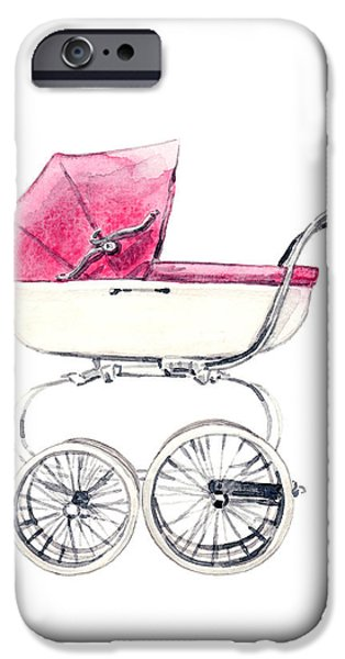 Duchess Of Cambridge iPhone Cases - Baby Carriage in Pink - Vintage Pram English iPhone Case by Laura Row