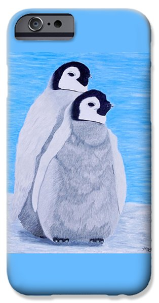 Baby Bird Pastels iPhone Cases - Baby Emperor Penguins  iPhone Case by Maureen Beaudet