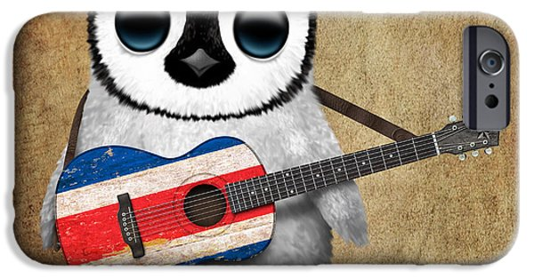 Baby Bird iPhone Cases - Baby Penguin Playing Costa Rican Flag Guitar iPhone Case by Jeff Bartels