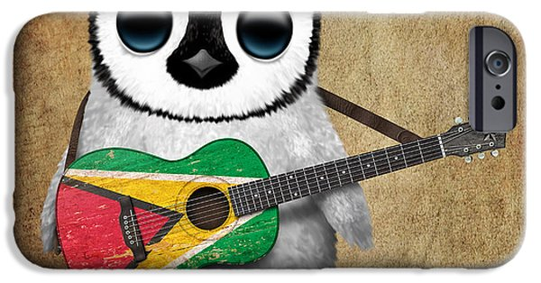 Old Digital Art iPhone Cases - Baby Penguin Playing Guyanese Flag Guitar iPhone Case by Jeff Bartels