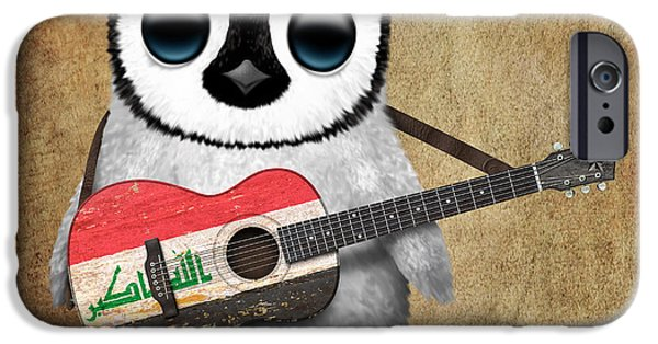 Iraq iPhone Cases - Baby Penguin Playing Iraqi Flag Guitar iPhone Case by Jeff Bartels