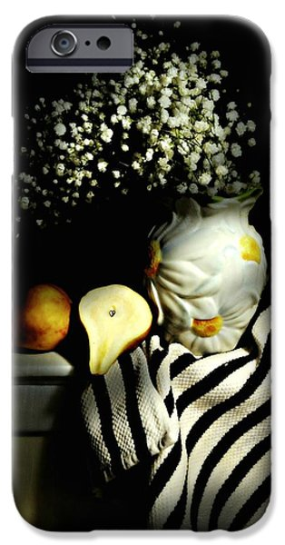 Still Life With Pitcher iPhone Cases - Babys Breath and Pear iPhone Case by Diana Angstadt