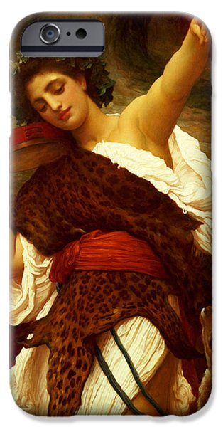 Wreath Paintings iPhone Cases - Bacchante iPhone Case by Frederic Leighton