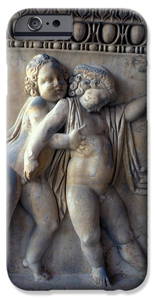 Bas Relief Reliefs iPhone Cases - Bacchus with Friend iPhone Case by Carl Purcell