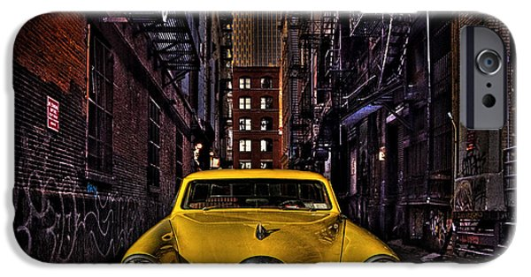 Escape iPhone Cases - Back Alley Taxi Cab iPhone Case by Chris Lord