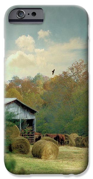 Tennessee Hay Bales iPhone Cases - Back At The Barn Again iPhone Case by Jan Amiss Photography