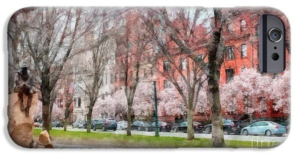 Back Bay iPhone Cases - Back Bay Boston Watercolor iPhone Case by Edward Fielding