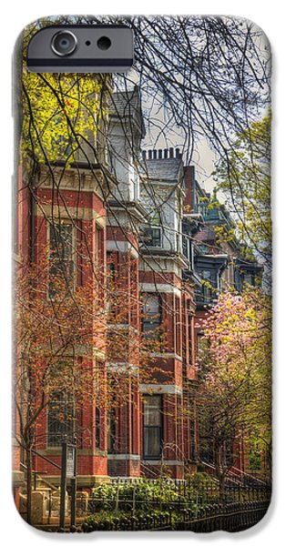 Floral Photographs iPhone Cases - Back Bay Brownstones in Spring - Boston iPhone Case by Joann Vitali