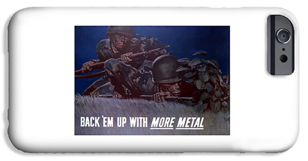 Political Mixed Media iPhone Cases - Back Em Up -- WW2 iPhone Case by War Is Hell Store