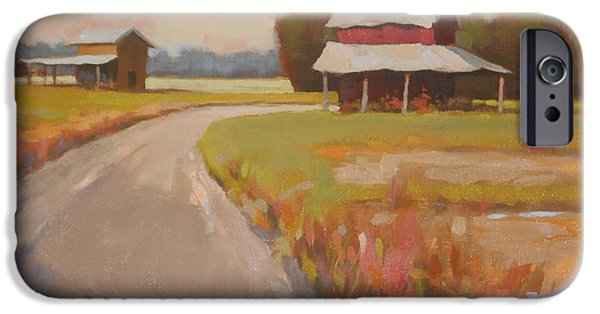 Old Barn Paintings iPhone Cases - Back Roads iPhone Case by Todd Baxter