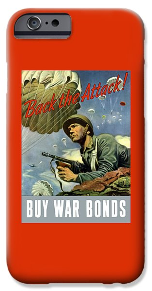 Prop iPhone Cases - Back The Attack Buy War Bonds iPhone Case by War Is Hell Store