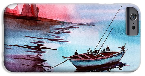 Ocean Sunset Drawings iPhone Cases - Back to Pavilion 2 iPhone Case by Anil Nene