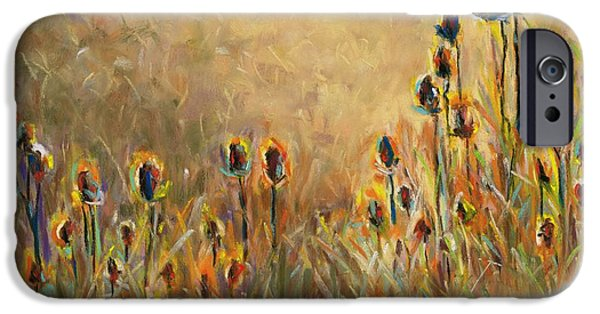 Backlit Pastels iPhone Cases - Backlit Thistle iPhone Case by Frances Marino