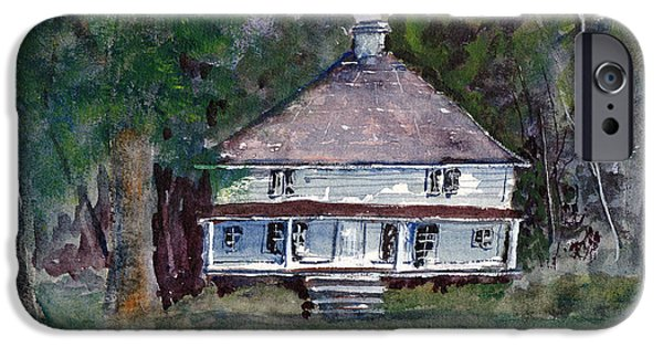 Loose Style Drawings iPhone Cases - Backwoods Cottage - Watercolor Landscape iPhone Case by Barry Jones