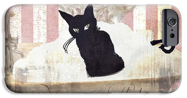 Bathing iPhone Cases - Bad Cat I iPhone Case by Mindy Sommers