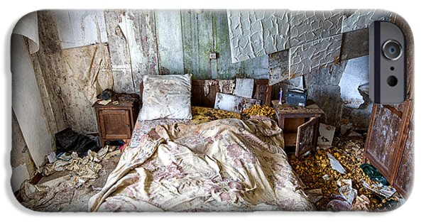 Ruin iPhone Cases - Bad dream bedroom - abandoned house  iPhone Case by Dirk Ercken